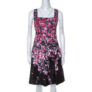 Red Valentino Taffeta Floral Mini Dress Black Pink